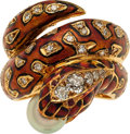 Estate Jewelry:Rings, Diamond, Cultured Pearl, Ruby, Enamel, Gold Ring. ...