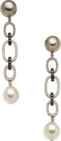Estate Jewelry:Earrings, Cultured Pearl, Colored Diamond, Diamond, White Gold Earrings, EliFrei. ...