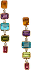 Estate Jewelry:Earrings, Multi-Stone, Diamond, Gold Earrings, Eli Frei. ...