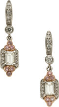 Estate Jewelry:Earrings, Colored Diamond, Diamond, Platinum, Gold Earrings, Charles Krypell. ...