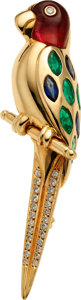 Estate Jewelry:Brooches - Pins, Multi-Stone, Diamond, Gold Brooch, Luth Bijoux. ...