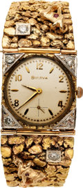 Estate Jewelry:Watches, Bulova Gentleman's Gold Nugget, Diamond, Ruby, Gold Plated,Stainless Steel Wristwatch. ...