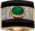 Estate Jewelry:Rings, Diamond, Emerald, Black Onyx, Gold Ring. ...