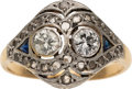Estate Jewelry:Rings, Diamond, Synthetic Sapphire, Platinum-Topped Gold Ring. ...