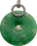Estate Jewelry:Pendants and Lockets, Jadeite Jade, Pink Sapphire, Diamond, White Gold Pendant. ...
