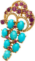 Estate Jewelry:Brooches - Pins, Ruby, Reconstituted Turquoise, Gold Brooch. ...