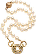 Estate Jewelry:Pearls, Diamond, Cultured Pearl, Gold Necklace. ...