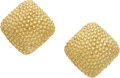 Estate Jewelry:Earrings, A PAIR OF GOLD EARRINGS. The 18k gold earrings are completed by clip backs, marked Adornis. Gross weight 16.50 grams.. Dim...