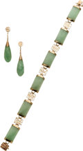 Estate Jewelry:Suites, Jade, Gold Jewelry Suite. ...
