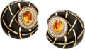 Estate Jewelry:Earrings, Citrine, Diamond, Enamel, Gold Earrings . ...