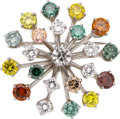 Estate Jewelry:Brooches - Pins, Colored Diamond, Diamond, White Gold Pendant-Brooch. ...