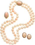 Estate Jewelry:Suites, Diamond, Coral, Seed Pearl, Gold Suite. ...