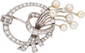 Estate Jewelry:Brooches - Pins, Diamond, Cultured Pearl, Platinum Brooch. ...