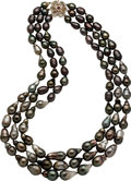 Estate Jewelry:Necklaces, South Sea Cultured Pearl, Diamond, Ruby Necklace. ...