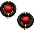 Estate Jewelry:Earrings, Coral, Black Onyx, Gold Earrings. ...