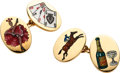Estate Jewelry:Cufflinks, Gentleman's Enamel, Gold Cuff Links, English. ...