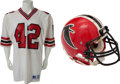 Football Collectibles:Uniforms, 1980's Gerald Riggs Game Worn, Signed Atlanta Falcons Jersey and Helmet....