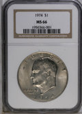 Eisenhower Dollars: , 1974 $1 MS66 NGC. A highly lustrous example, nicely struck with pleasing rose-gold toning over each side. Only a few small ...