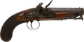 Handguns:Muzzle loading, English Flintlock Travelling Pistol by Jones....