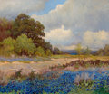 Paintings, ROBERT WILLIAM WOOD (American, 1889-1979). Country Road with Bluebonnets and Cacti, circa pre-1940. Oil on canvas. 25 x ...