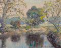 Texas, WILLIAM POSEY SILVA (American, 1859-1948). One the Creek Bend,Austin, Texas. Oil on canvas board. 12 x 15 inches (30.5 ...
