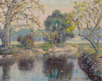 WILLIAM POSEY SILVA (American, 1859-1948) One the Creek Bend, Austin, Texas Oil on canvas board 1