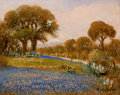 Texas, ROLLA TAYLOR (American, 1871-1970). Landscape with CactiBluebonnets, and Trees. Oil on canvas board. 16 x 20 inches(40...