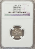 Three Cent Nickels: , 1882 3CN -- Scratches -- NGC Details. VF. NGC Census: (5/72). PCGSPopulation (6/149). Mintage: 22,200. Numismedia Wsl. Pri...