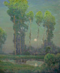 Fine Art - Painting, American, CHARLES WARREN EATON (American, 1857-1937). MoonriseMontigny. Oil on canvas. 33 x 27 inches (83.8 x 68.6 cm).Signed lo...