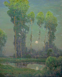 CHARLES WARREN EATON (American, 1857-1937) Moonrise Montigny Oil on canvas 33 x 27 inches (83.8 x