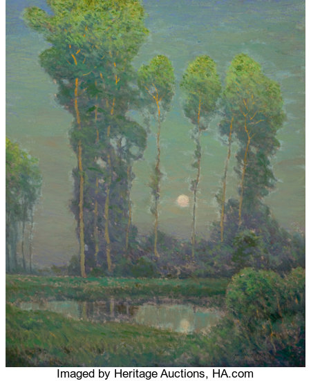 CHARLES WARREN EATON (American, 1857-1937)Moonrise MontignyOil on canvas33 x 27 inches (83.8 x 68.6 cm)Signed lo...