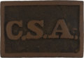 "Antiques:Antiquities, Fine Excavated Confederate States C.S.A. ""Atlanta Arsenal""Rectangular Brass Belt Plate...."
