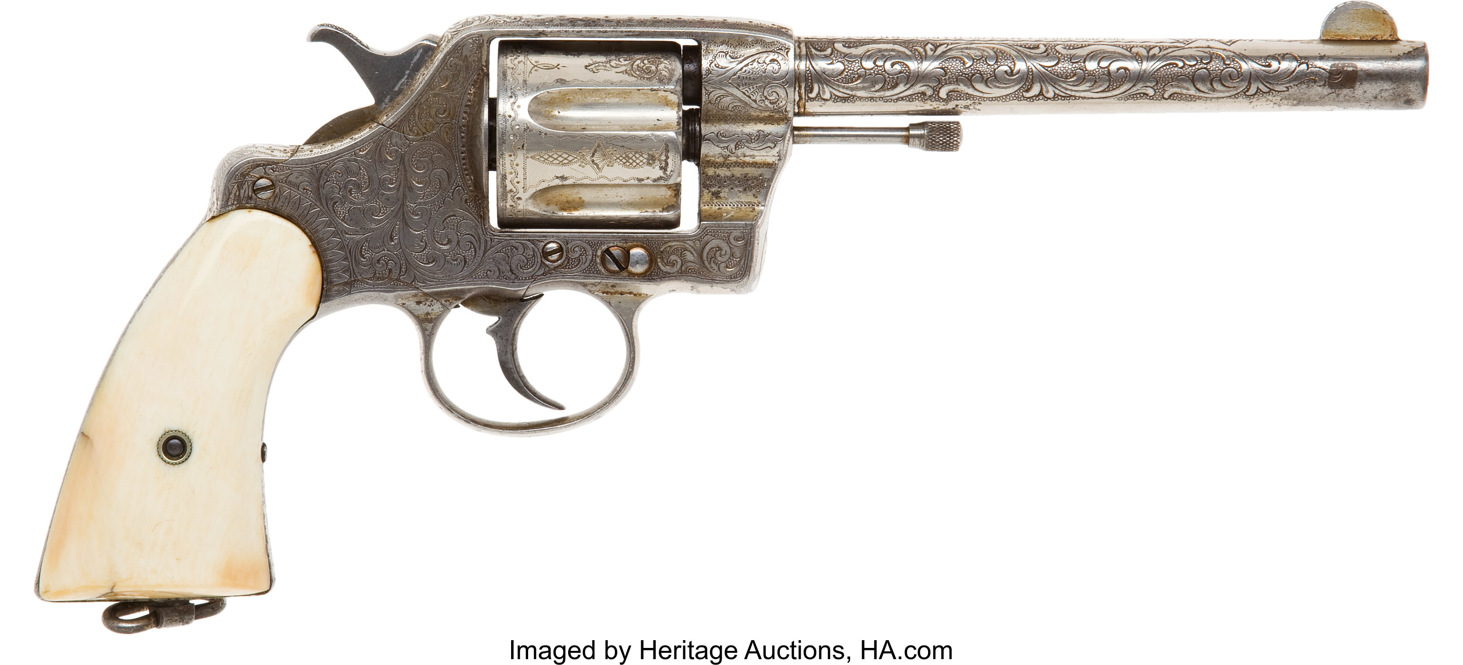 Engraved Colt Model 1892 Double Action Revolver with Ivory Grips