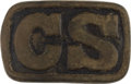 "Antiques:Antiquities, Confederate C.S. ""Spun Hook"" Sand Cast Officer's Model BeltPlate...."