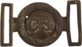 "Antiques:Antiquities, Confederate States CS ""Virginia Style"" Brass Two-Piece Tongue & Wreath Officer's Model Belt Plate...."