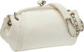 Luxury Accessories:Bags, Chanel White Lambskin Kiss-Lock Closure Bag with Silver Hardware....