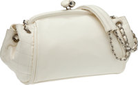 Chanel White Lambskin Kiss-Lock Closure Bag with Silver Hardware
