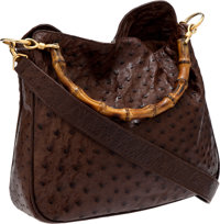 Gucci Brown Ostrich Hobo Bag with Bamboo Handle and Leather Shoulder Strap