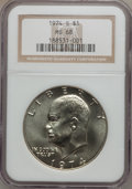 Eisenhower Dollars: , 1974-S $1 Silver MS68 NGC. NGC Census: (129/1). PCGS Population(900/3). Mintage: 1,900,156. Numismedia Wsl. Price for prob...