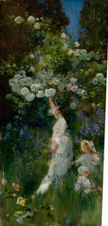 Fine Art - Painting, American:Antique  (Pre 1900), JOHN MCLURE HAMILTON (American, 1853-1936). Woman and TwoChildren in a Garden Picking Flowers. Oil on panel. 17 x7-1/2...