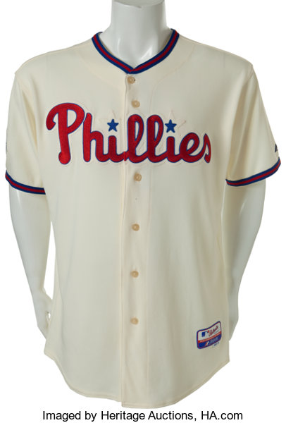 super cute 4961b 5b268 2009 Chase Utley Game Worn Philadelphia Phillies Jersey ...