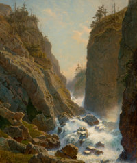 WILLIAM STANLEY HASELTINE (American, 1835-1900) Mountain with Cascade Oil on panel 24 x 20 inches