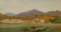 Fine Art - Painting, American:Antique  (Pre 1900), JOHN WILLIAM HILL (American, 1812-1879). Landscape withMountains, 18[?]8. Oil on canvas. 5-3/4 x 10 inches (14.6 x25.4...