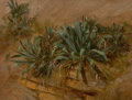 Fine Art - Painting, American:Antique  (Pre 1900), THOMAS HIRAM HOTCHKISS (American, 1834-1869). Study of Plants ona Rocky Wall. Oil on board. 10-3/4 x 13-1/2 inches (27....
