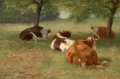 Paintings, WILLIAM HENRY HOWE (American, 1846-1929). Cows in a Grassy Field, 1890. Oil on canvas. 16 x 22 inches (40.6 x 55.9 cm). ...