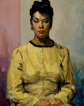 Fine Art - Painting, American:Contemporary   (1950 to present)  , DAVID WU JECT-KEY (Chinese/American, 1890-1968). Portrait of aWoman in Yellow. oil on canvasboard. 18 x 14 inches (45.7...