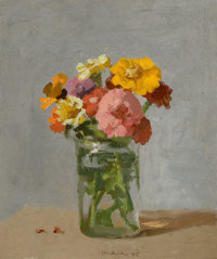 ROBERT KULICKE (American, 1924-2007) Zinnias in a Glass Jar, 1985 Oil on masonite panel 10 x 8-1/