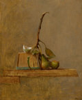 Fine Art - Painting, American:Contemporary   (1950 to present)  , BRUCE KURLAND (American, 1938-). Pears, Basket and Shell,1972. Oil on gessoed masonite panel. 9-3/4 x 8-1/2 inches (24....