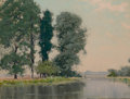 Fine Art - Painting, American:Antique  (Pre 1900), CHARLES AUGUSTUS C. LASAR (American, 1856-1936). Trees by theRiver. Oil on canvas. 10-3/4 x 14-1/4 inches (27.3 x 36.2 ...