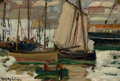 Fine Art - Painting, American:Modern  (1900 1949)  , HAYLEY R. LEVER (American, 1876-1958). At the Dock. Oil oncanvas laid on board. 7 x 9 inches (17.8 x 22.9 cm). Signed l...